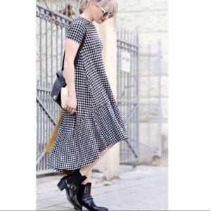 Zara Gingham Hi-Low Midi Dress With Pockets
